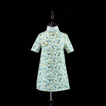 brand floral pencil kids dress mother and daughter dresses family clothes improved cheongsam dress mother and baby girls dresses