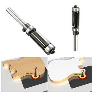 "Image 1 - Flush Trim Router Bit Top & Bottom Bearing 1"" H X 1/4 Shank Woodworking Tool"