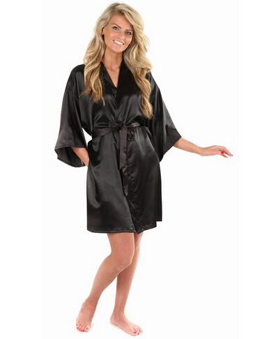 Yukata Bathrobe Sleepwear Kimono Faux-Silk-Robe Black Chinese Solid-Color Women's New