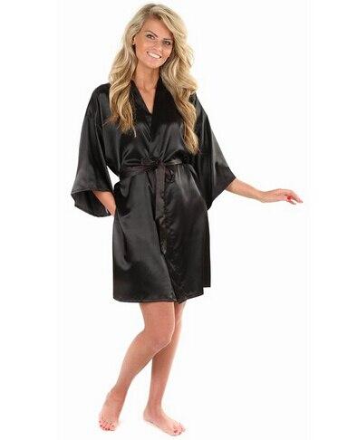 New Black Chinesischen frauen Faux Silk Robe Badekleid Heißer Verkauf Kimono Yukata Bademantel Einfarbig Nachtwäsche Sml XL XXL NB032