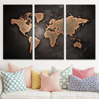 3 Pcs/Set Framed Black World Map Posters Abstract Global Map Canvas Painting Prints Art Wall Picture for Office Home Decorative