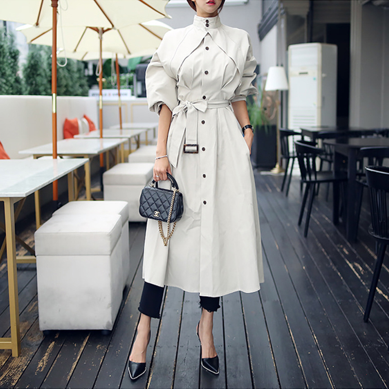 2019 New arrival high quality Women fashion Dress chic loose   Trench   Coat Spring Autumn personality Stand Collar Long   Trench   X732