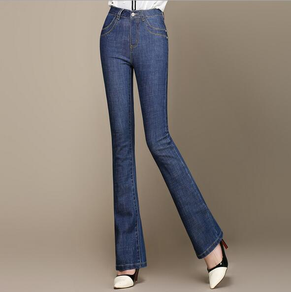 New arrival women flare denim pants fashion plus size jeans casual thin trousers slim high waist