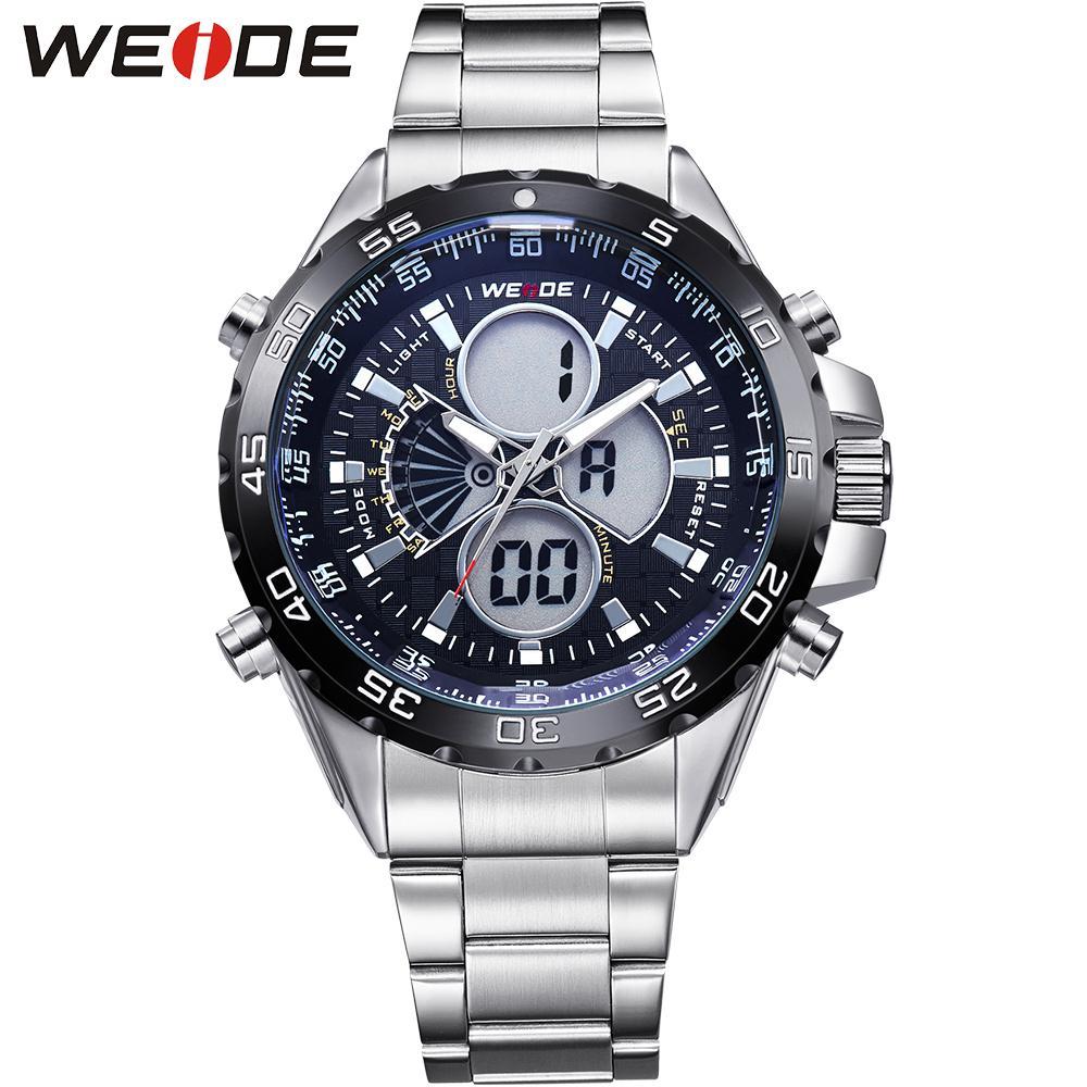 ФОТО WEIDE Popular Brand Mens Digital Dual Time Watch Stainless Steel Back Big Black Dial 30M Waterproof LCD Watches Original Gifts