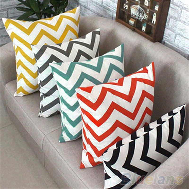 HOT Ripple Chevron Zig Wave Linen Cotton Cushion Cover Home Decor Throw Pillow Case  91SZ