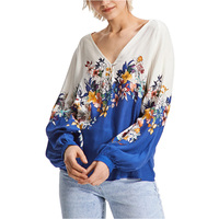 Runway Designer Elegant Floral Printed Long Puff Sleeve Blouse Female Blue White Color V Neck Shirts Tops for Women OL Ladies