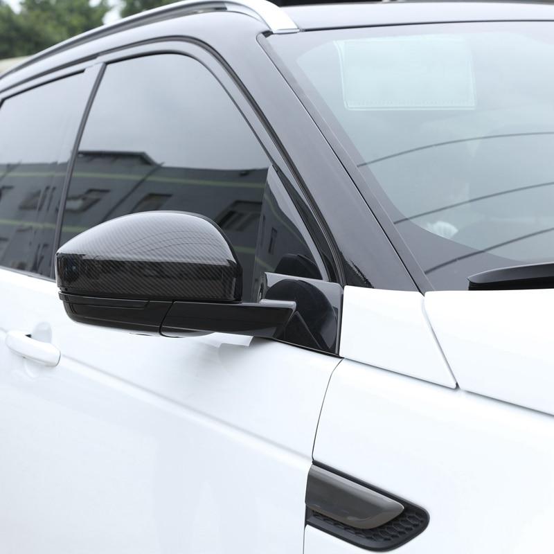 Otomobiller ve Motosikletler'ten Ayna ve Kapaklar'de 2 adet karbon Fiber tarzı Abs plastik yan dikiz aynası kapatma başlığı Trim Land Rover Discovery spor Range Rover Velar title=