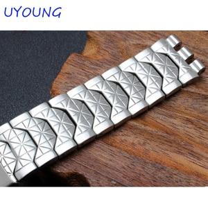 Image 4 - Diamond Stainless Steel Bracelet for Swatch YCS410GX male 19mm Black Silver waterproof watch accessories