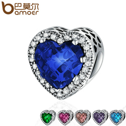 BAMOER 100% 925 Sterling Silver 6 Colors Radiant Hearts Charms Beads fit Original Charm Bracelet Jewelry Girlfriend Gift PSC138