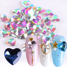 10pcs Colorful Heart Rhinestones Valentine Crystal Nail Art Peach Glitter Stone 3D Design Jewelry Gem Manicure Decoration JI011(China)