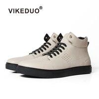 Vikeduo 2019 ручной работы мужской белый Модные повседневное роскошные ботинки в Военном Стиле каблук 100% пояса из натуральной кожи ботильоны зим