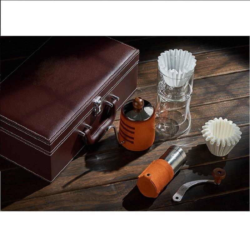 3 pièces/ensemble filtre pot + moulin à café + goutte à goutte bouilloire + 20 pièces papier filtre pour voyage cadeau boîte emballage café cadeau pour barista