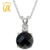 925 joyería de plata esterlina para las mujeres 3.14 ct ronda natural negro onyx y topaz blanco colgante collar gemstoneking