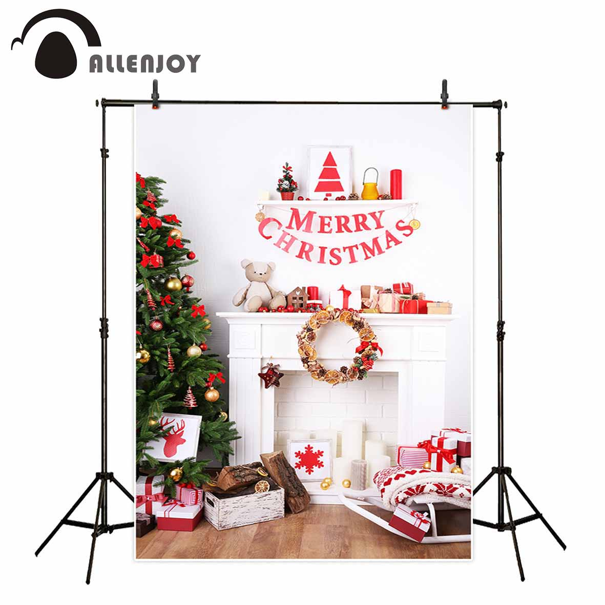Allenjoy Fireplace Christmas tree celebration gift wreath toy bear backgrounds for photo studio christmas decorations for home allenjoy christmas backdrop tree gift chandelier fireplace cute professional background backdrop for photo studio