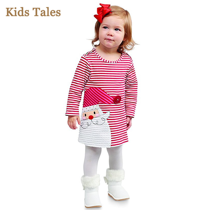 PK-031 Chrismas dress for girls children's clothing with long sleeved stripe cartoon clothes for children girls new year ware