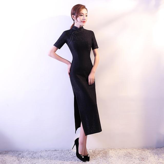 28a174ce9b3 New Arrival Novelty Lace Flower Elegant Cheongsam Women Sexy Chinese Style  Dress Lady Slim Mandarin Collar Qipao Size S-3XL