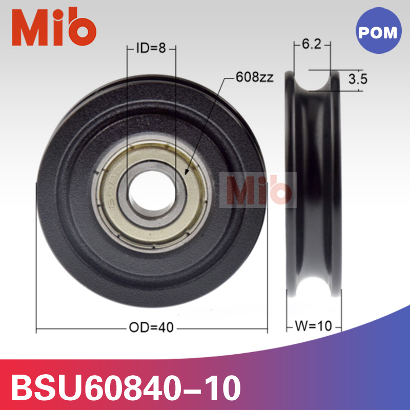 1pcs/lot 608zz Coated With Pom Pa Black U Groove Injection Molding Machine 4cm 40mm Bearing Wheel Roller 8*40*10mm Bsu60840-10