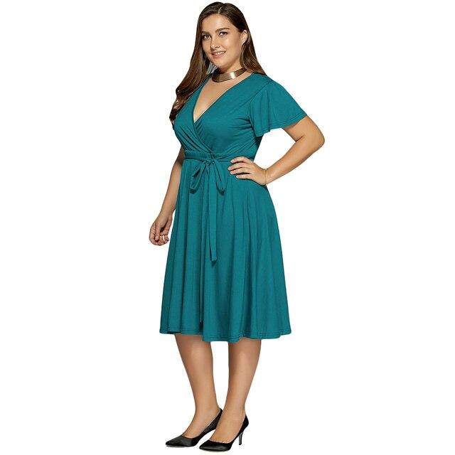 Funoc Ladies Low Cut A Line Plus Size Surplice Front Tie Swing Dress 2017  Sweet V Neck Chiffon Ocean Blue Casual Dresses 41e1a7598650