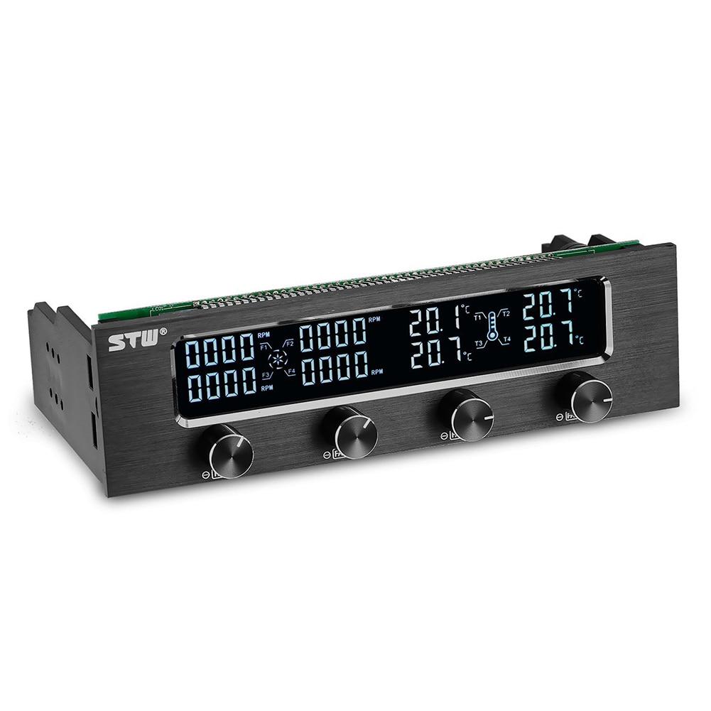 STW Pc 5,25 pulgadas Drive Bay aluminio totalmente cepillado 4 canales PWM ventilador controlador con pantalla LCD