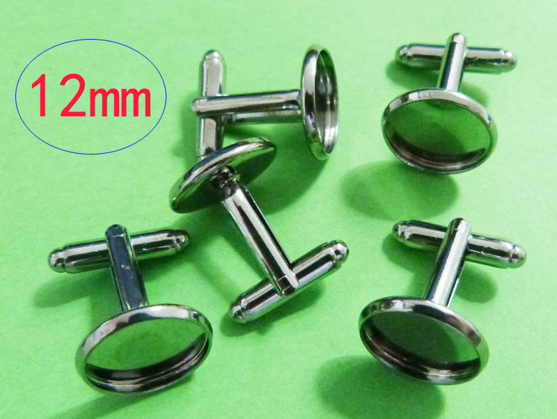 WER-226#  20 Pieces GUNMETAL Color French Cuff Links With 12mm Round Flat Blank