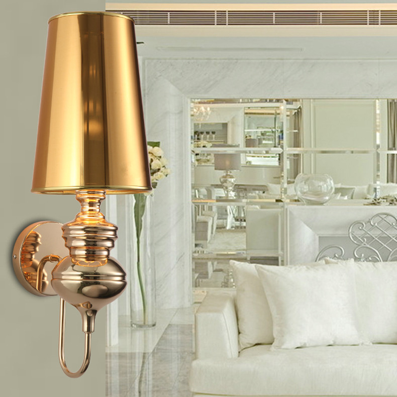 Modern Gold Wall Sconce With Lampshade Bedroom Indoor Wall