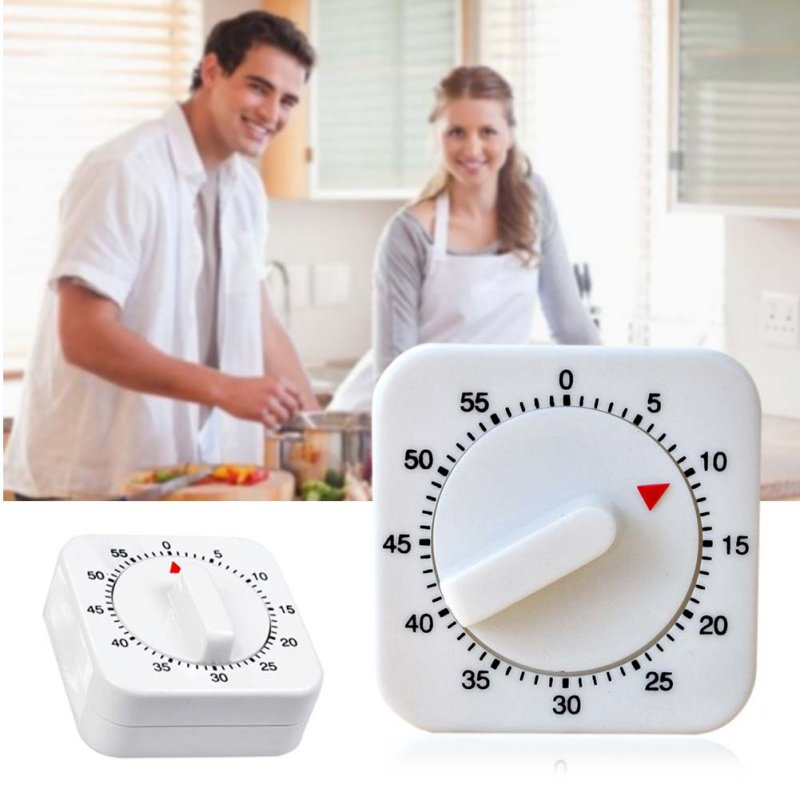 White Square 60-Minute Mechanical Timer Reminder Counting Count Down Alarm Clock for Kitchen AA