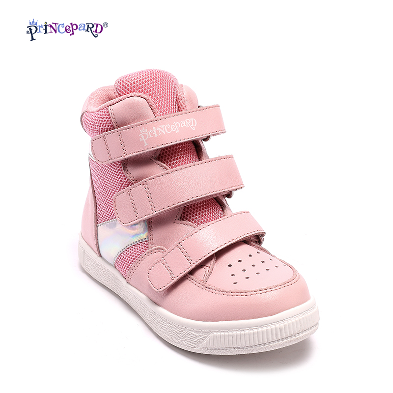 Princepard  fashion design girls orthopedic sport baby shoes pink cow genuine leather casual footwear running shoes baby sneaker