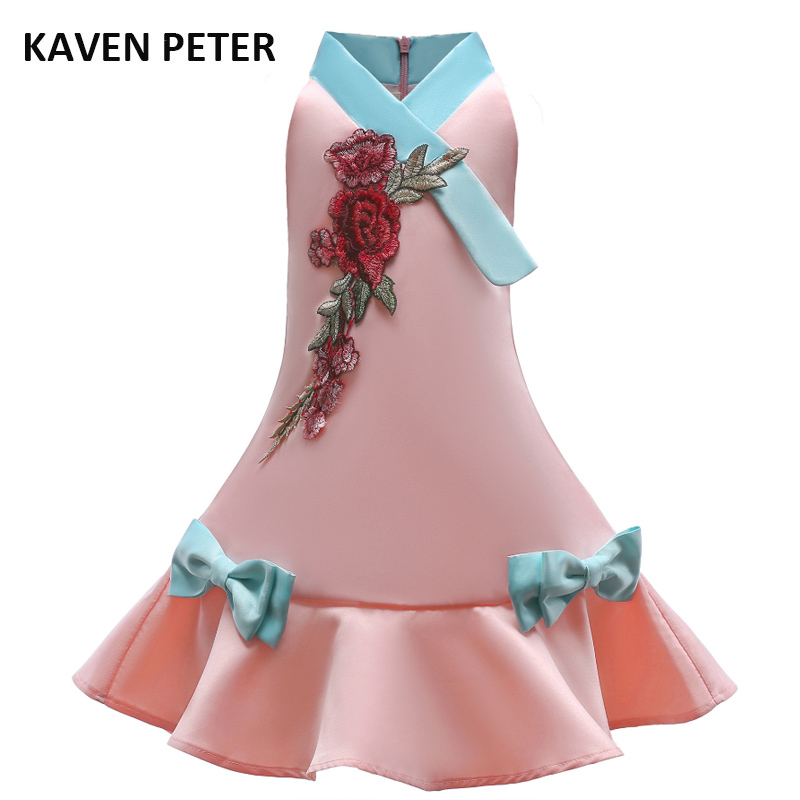 chinese traditional dress girl party dress with big Floral embroidery child princess dress kid lone one piece trumpet 3-7T old plus floral embroidery mesh panel dress