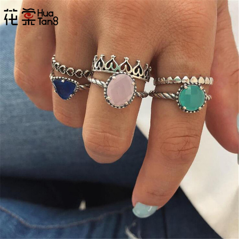 HuaTang Colorful Rhinestone Crown Ring Set for Women Girl Hollow Out Heart Geometric Knuckle Ring Jewelry Statement 6084