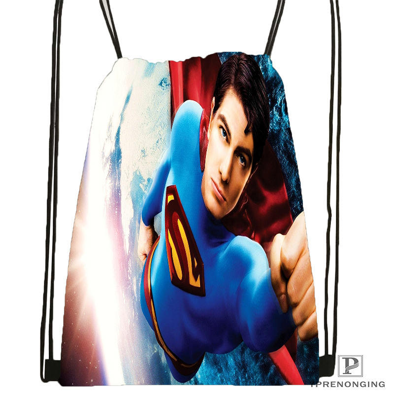 Custom Batman Superman Drawstring Backpack Bag For Man Woman Cute Daypack Kids Satchel (Black Back) 31x40cm#180531-01-38