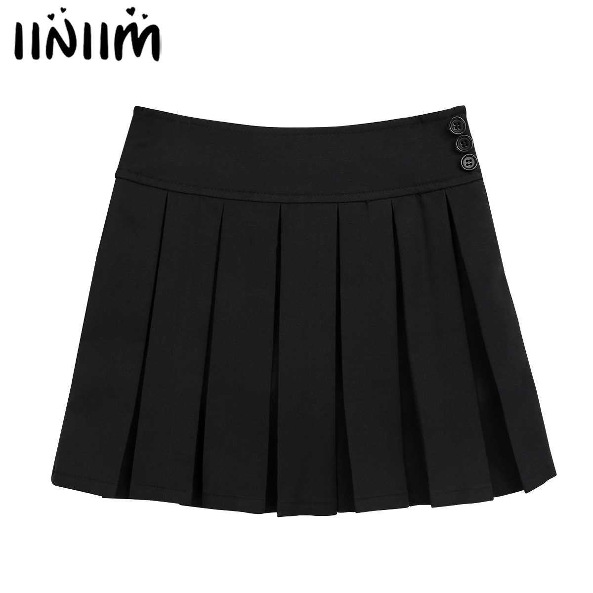iiniim Kids Girls School Uniform Pleated Side Zipper Buttons Scooter Dance Skirt with Hidden Shorts School Skirt