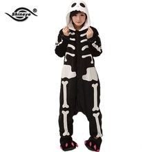 Shineye  Skeleton Unisex Adult Flannel Hooded Pajamas Cosplay Cartoon Cute Animal Onesies Sleepwear  For Women Men