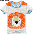 Little maven 2017 new summer baby boy clothes short sleeve O-neck t shirt 100% Cotton cartoon lion printing brand tee tops L004