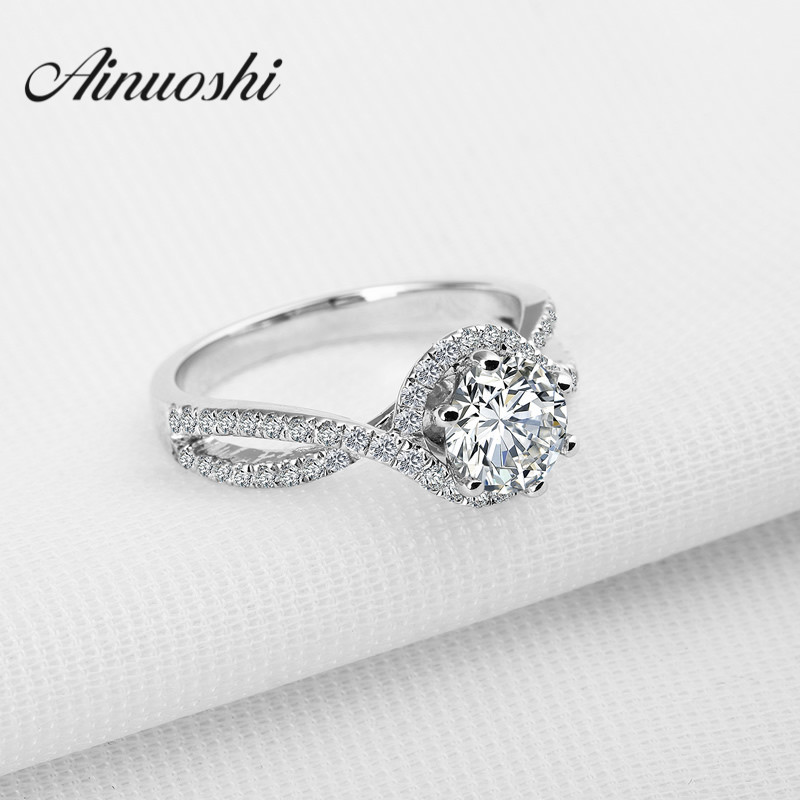 AINOUSHI 1 ct Round Cut Halo Wedding Ring 925 Sterling SilverFashion Bague Accessories Women Wedding Engagement