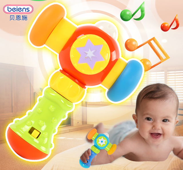 Beiens Musical Hammer Toys Baby Rattles 0-12 Month Sound and Light Knock Hammer Children Early Education Puzzle Beat Toys Gift