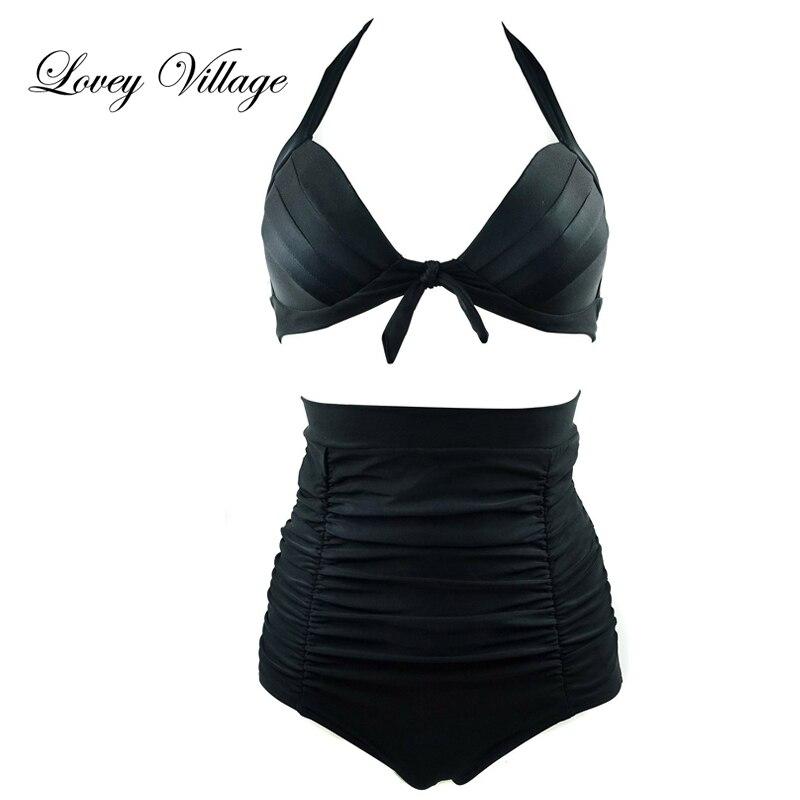 Lovey Village Bikini Set Bikini de cintura alta Vintage Bañador de cintura alta Trajes de baño de cintura alta Biquini Traje de baño retro