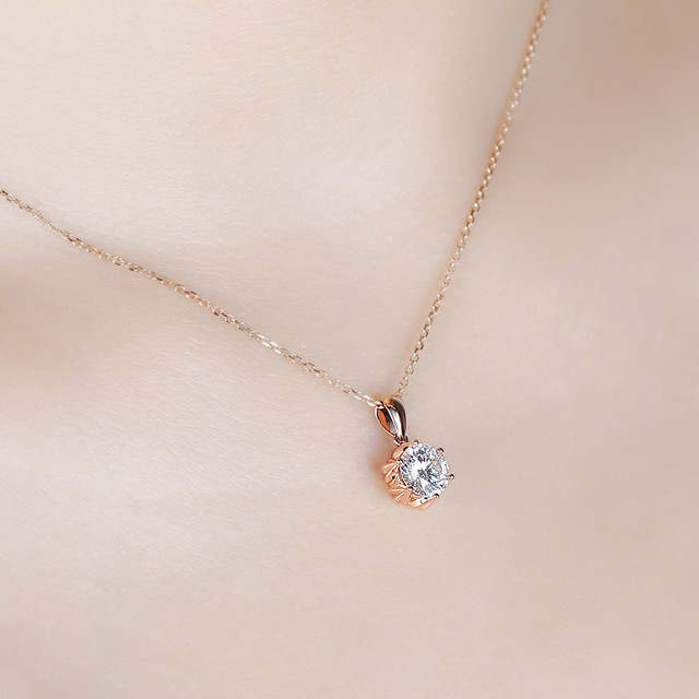 DovEggs 18K 750 Rose Gold 1CTW 6.5mm F Color Moissanite Flower Shaped Pendant Necklace with 14 6