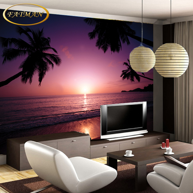 Custom 3D photo wallpaper real shooting seascape beach sunset ...