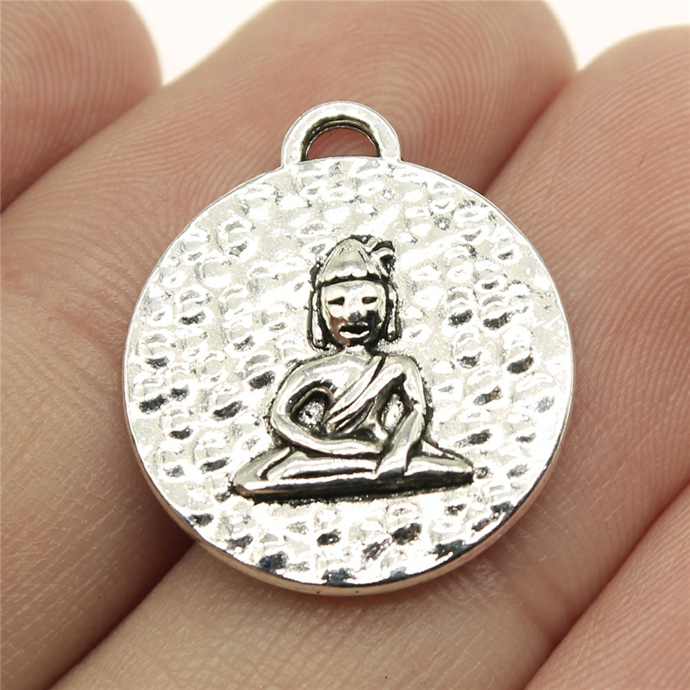 WYSIWYG 5pcs 22*20mm Round double-sided sitting Buddha Pendants Charms Findings Jewellery Making Findings for DIY Craft