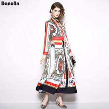Banulin 2018 Early Autumn Runway Designer Shirt Long Dress Women High Quality Flower Floral Printed 2xl Plus Size Maxi
