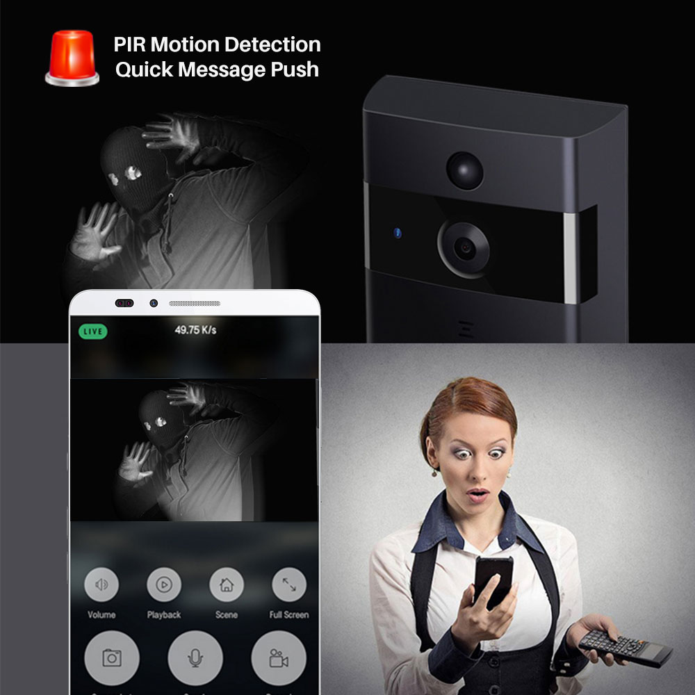Image 4 - Smart Video Doorbell Camera IP Door bell Two Way Video Intercom PIR Monitor Alarm Remote Home Monitoring Via Smartphone APP-in Doorbell from Security & Protection