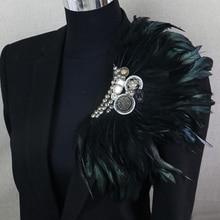 Boutonniere Clips Collar broche Pin boda negocios trajes banquete broche negro pluma ancla flor Corsage fiesta Bar cantante
