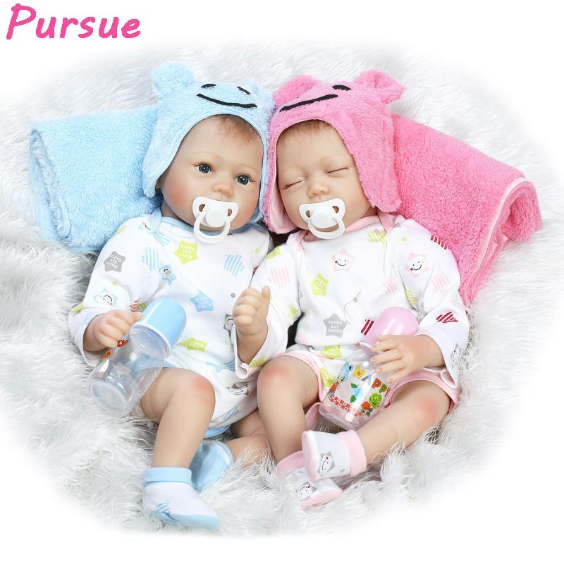 Pursue Bebe Reborn Lifelike Reborn Baby Doll Boy Girl Toy Realistic Education Reborn Dolls for Gift Blue Pink 22/55cm Wholesale детское лего no education toy