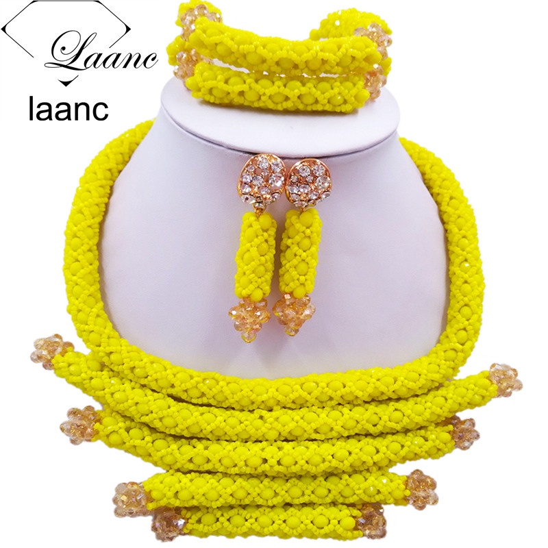 Fashion Women Costume Crystal Beaded Necklace Yellow African Beads Jewelry Set for Nigerian Wedding BZDJ004 все цены