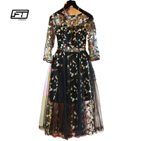 Fitaylor Embroidery Floral Lace Chiffon New Spring Women Dress Fashion Casual Three Quarte Knee Length Dress