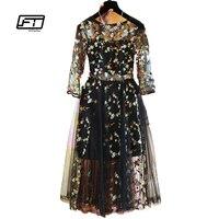 Fitaylor 2017 delle Donne Vestito da Donna elegante Manica Corta Tulle Garza Fiore Ricamo Floreale Nero O-Neck Dress
