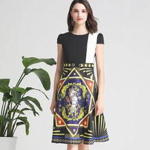 New Summer Autumn Pretty Dress For Women High Quality Fashion Print Patchwork Slim Cute Dress(China)