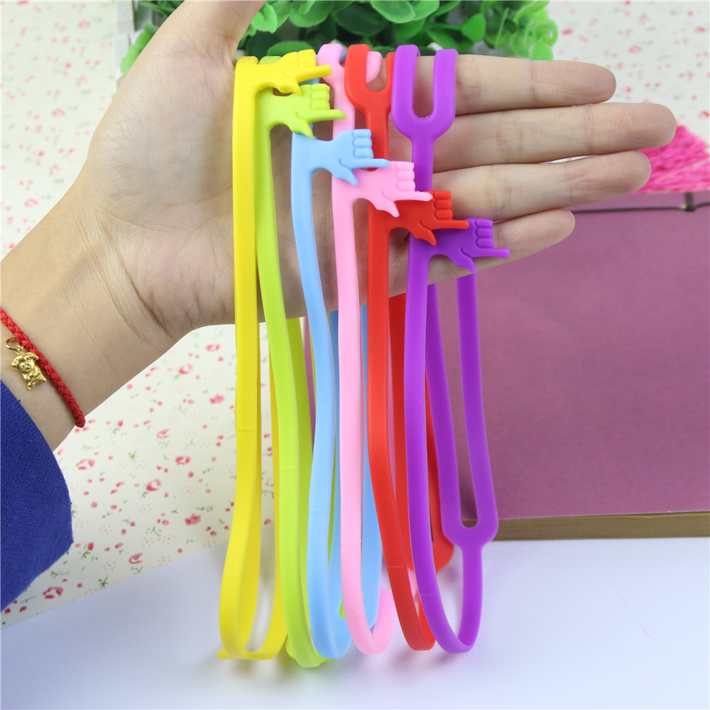 Assorted Colors 8 Inch Length 10 Pieces Silicone Finger Point Bookmark Silicone Elastic Book Marker Rubber Book Marker Strap for School Office Supply
