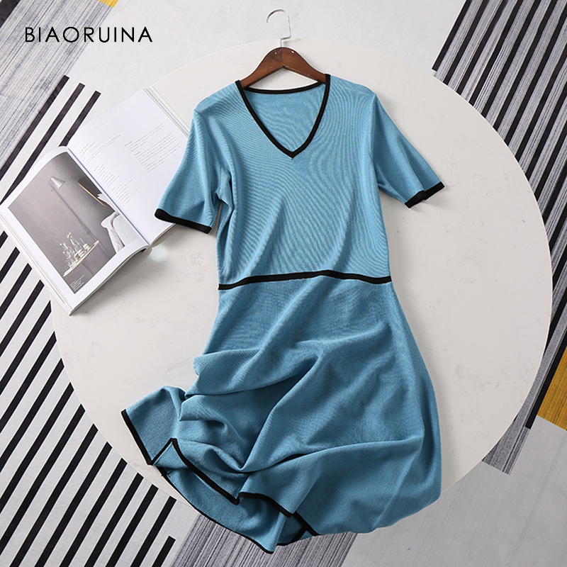Motivated Biaoruina Women Blue Elegant V-neck Knitted Dress Short Sleeve Female Chic High Waist Stretching Slim Dress Office Lady Dress Year-End Bargain Sale Women's Clothing