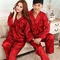 2017 Primavera Verano Otoño de China de Seda Pijamas Conjuntos de San Valentín Camisón Sleepcoat y Pantalones Par ropa de Dormir y Ropa de Hogar